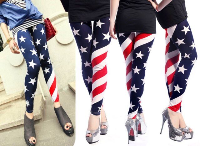 1db202a2ceb Frequently bought together. Womens Stars Stripes USA American Flag Leggings  Stretchy Skinny Pencil Pants