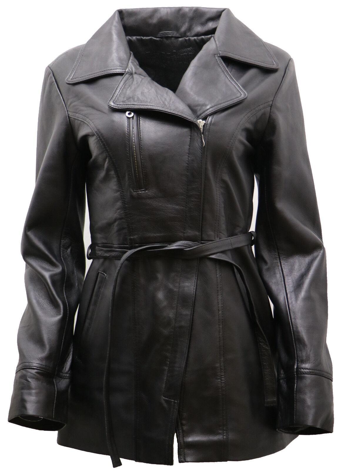 women black pelle nappa lungo giacca da motociclista con cintura