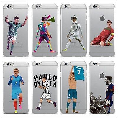 71b6b94eb8c Footballeur Clear Soft Case Cover pour iPhone X 8 7 6 Plus iPhone 5 S Messi  Ronaldo