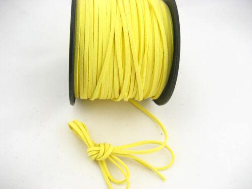 6 m Jaune Cordon cuir en Daim Doux Dentelle Velvet Thread À faire soi-même Bracelet Findings
