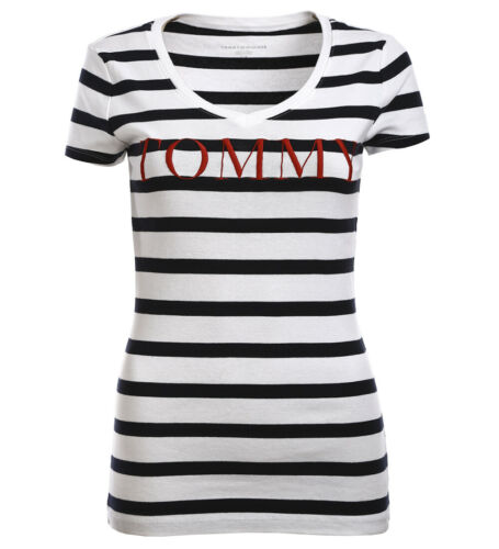 Tommy Hilfiger Damen Statement V-Neck Shirt T-Shirt marine all Sizes