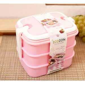 BPA Free 3 Floor Lunch Box Set Bento Pink Containers Picnic Food
