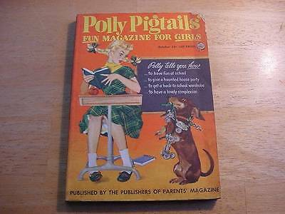 October 1954 Polly Pigtails Magazine-Calling All Girls-Dachshund w/Roller Skates