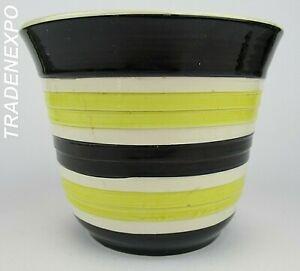 Vintage-60s-70s-ES-KERAMIK-PLANTER-POT-Black-Yellow-W-German-Pottery-Fat-Lava