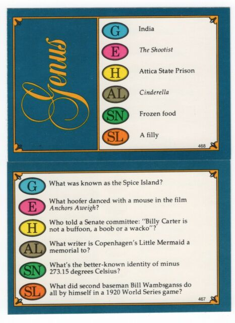 100 Trivial Pursuit Cards - Genus