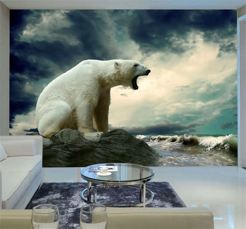 Polar Bear StandIing Roar Full Wall Mural Photo Wallpaper Print Kids Home 3D Dec