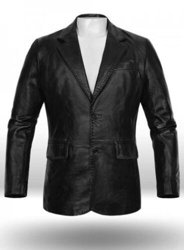 New Black Blazer Leather Coat Lambskin B2 Jacket Soft Men's Two Button Genuine R7pAqrwR