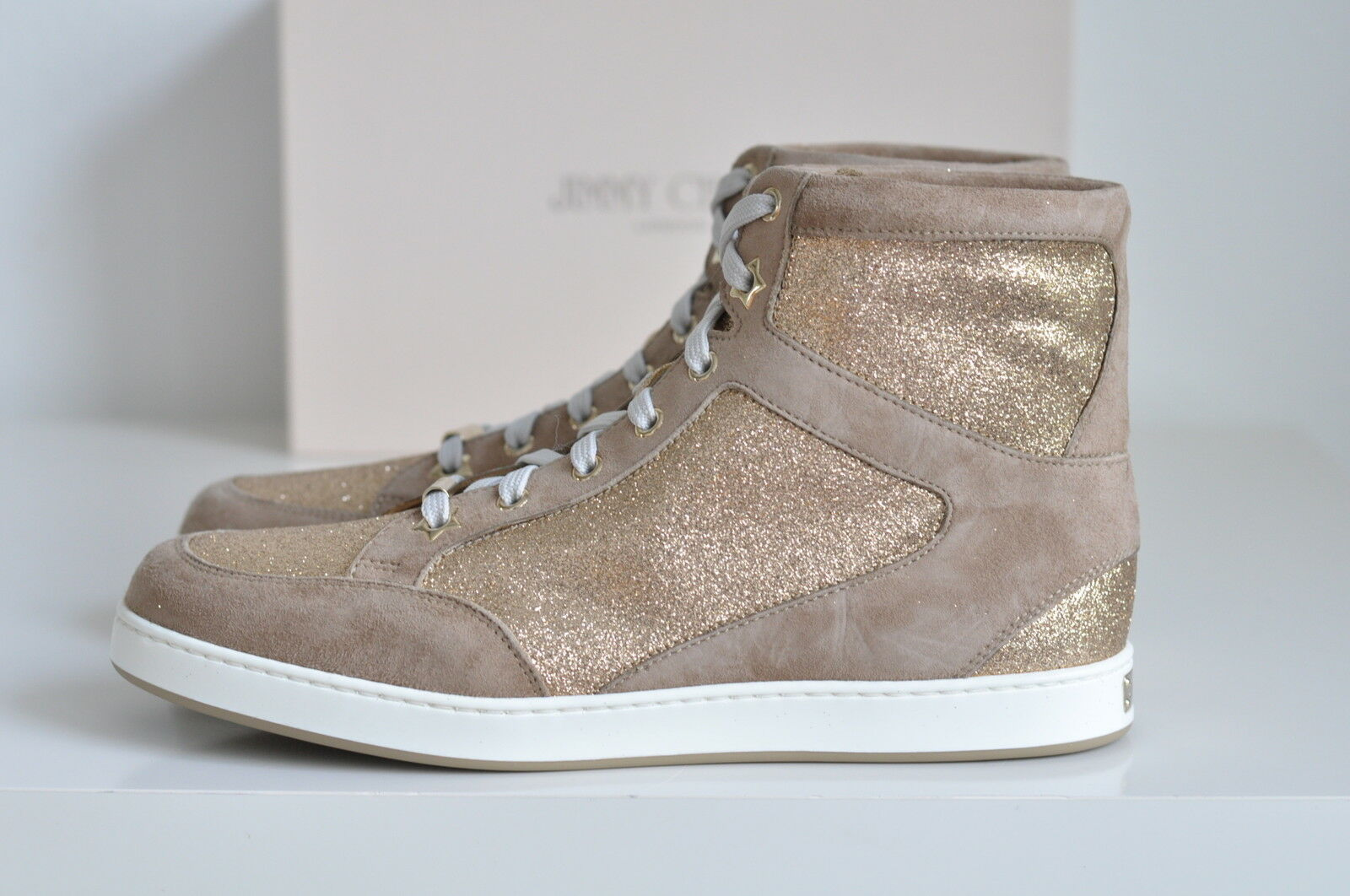 NIB Jimmy Choo Tokyo Glitter Suede High Top Lace-up Sneakers shoes sz 7.5   37.5