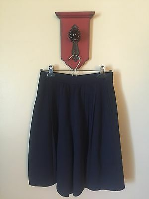 St. John Basics Navy Blue Santana Knit Pleated Pockets Shorts Skirt Skort Size 4