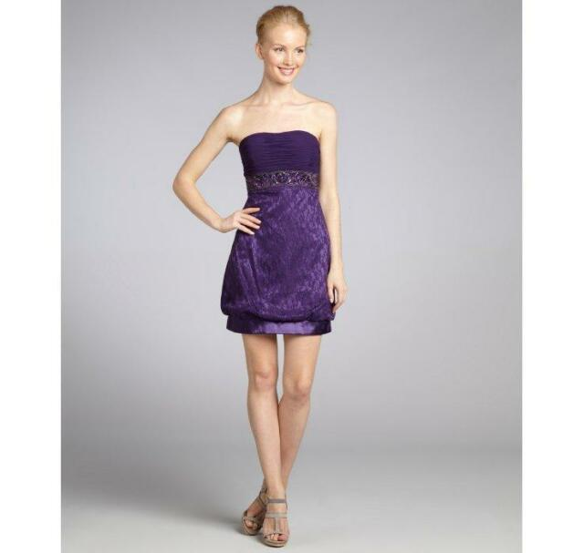 be1362e31b7 Sue Wong Plum Beaded Lace Overlay Strapless Mini Cocktail Dress Size 2 NWT