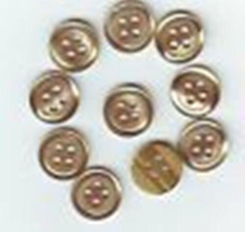 10 mm 4 trous JAUNE Doré LOT 10 BOUTONS  NEUFS