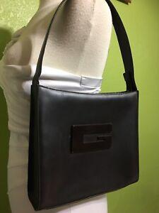 e0d176e60e36 Image is loading Gucci-Brown-Leather-Logo-Hobo-Tote-Shoulder-Bag-