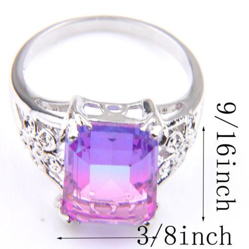 Femme Rectangle en Forme de bi-couleur Tourmaline gemstone silver ring sz 7 8 9