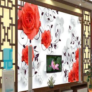 Calde-e-affascinante-Rose-rosse-3D-Tenda-Bloccare-Foto-Stampa-Tendaggio-Drappo-T