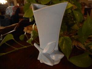 "Nelson Mccoy Lily Periwinkle Blue Bud Vase Matte Glaze Art Pottery apx 8"" tall"