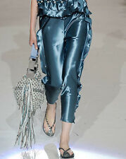 MARC JACOBS Black 100% satin pants w/ crystal pearls & ruffles Size 0 NWTs $1200