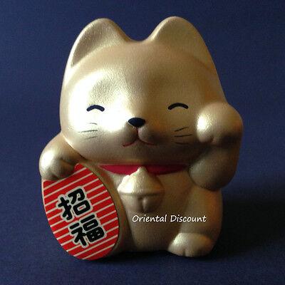 "Japanese 2.75""H Gold Ceramic Rich Lucky Fortune Maneki Neko Cat, Made In Japan"