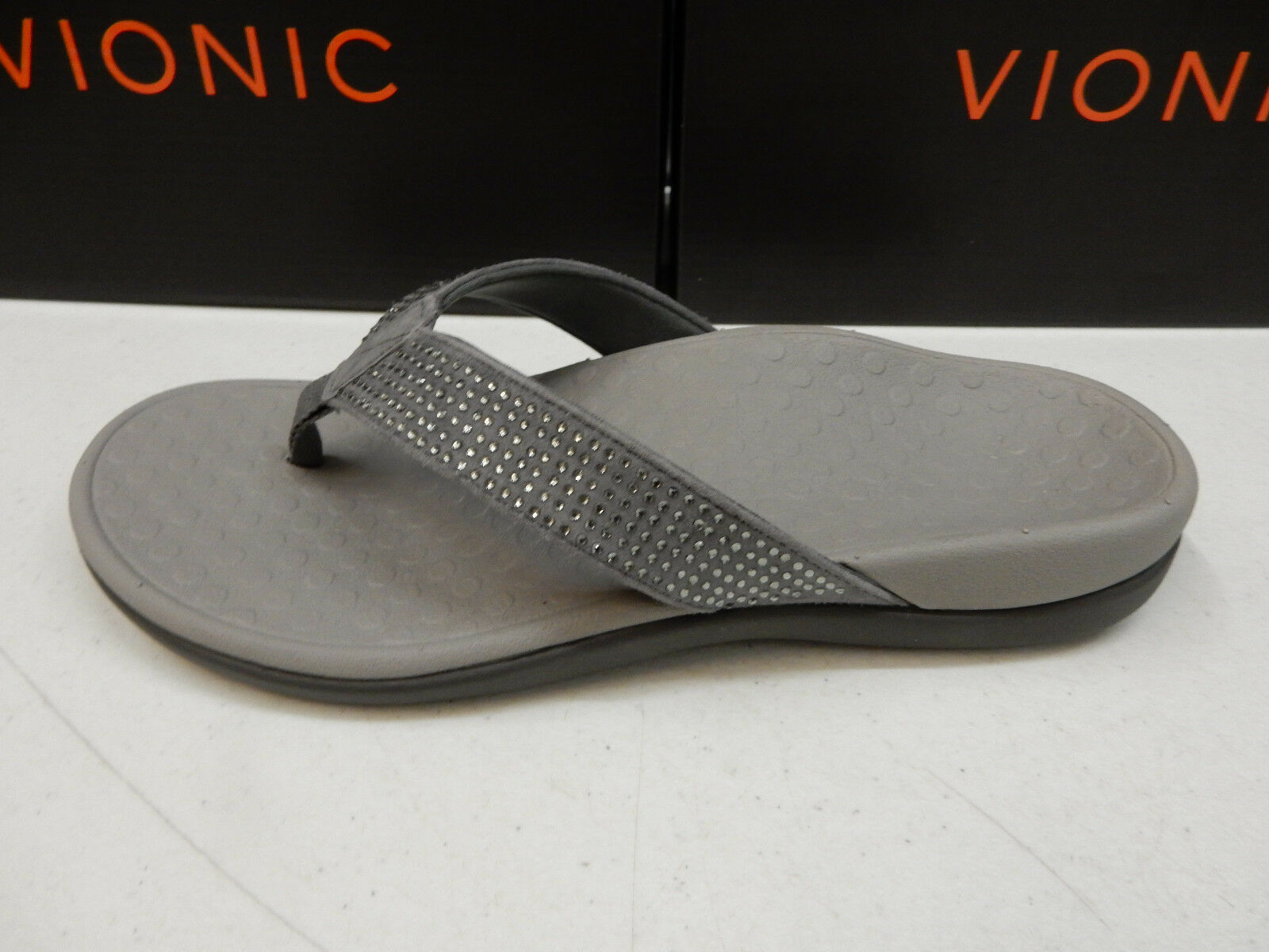 VIONIC WOMENS SANDALS TIDE RHINESTONES PEWTER SIZE 6