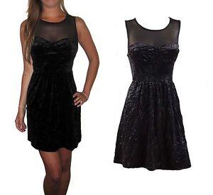 Womens-UK-Ladies-Black-Mini-Evening-Crushed-Velvet-Skater-Sexy-Party-Dress-8-10