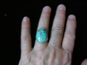 #8 MINE TURQUOISE 25x18mm CAB .925 WIDE DECO RING sz.9 1/2 --63.0cts. #13H-074