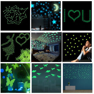 DIY-100Pcs-Star-1-Moon-Glow-In-The-Dark-Plastic-Stickers-Ceiling-Wall-Bedroom