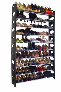 Adjustable-50-Pair-10-Tier-Shoe-Tower-Rack-Space-Saving-Storage-Organizer
