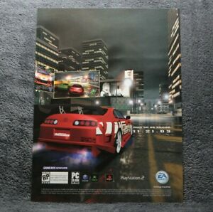 2003-Need-For-Speed-UNDERGROUND-Promo-Sticker-Sheet-Video-Game-Decal-PS2-XBOX-PC