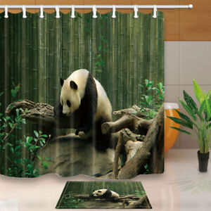 Image Is Loading 3D Cute Panda Shower Curtain Bathroom Waterproof Fabric