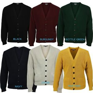 Image is loading Relco-Waffle-Knit-Cardigan-Football-Buttons-Navy-Black- d71d25560
