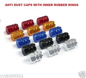 *BLUE/BLACK/GO<wbr/>LD/RED/SILVER* Metallic Valve Dust Cover Caps *Inner Rubber Rings*