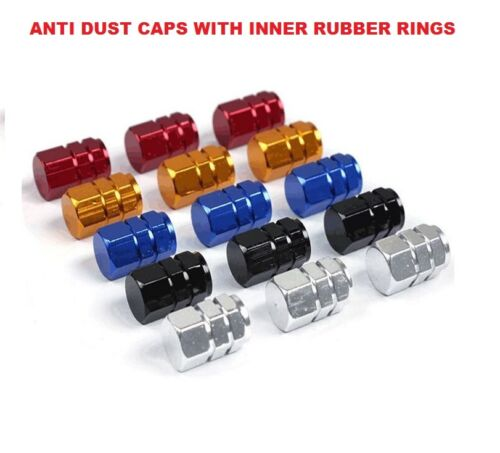 *BLUE/BLACK/GOLD/RED/SILVER* Metallic Valve Dust Cover Caps *Inner Rubber Rings*
