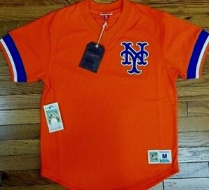 quality design 215fe 18a1c Details about NEW MITCHELL & NESS New York Mets Orange V-neck MESH JERSEY  MLB