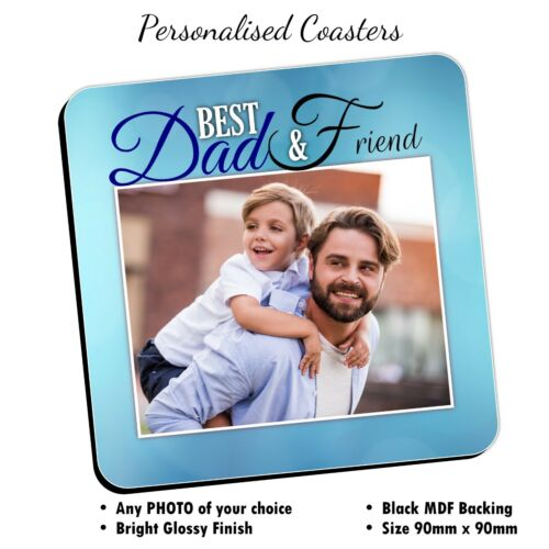 Personalised photo Coasters ~ père Anniversaire Christmas Fathers Day Verres Mat n12