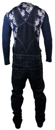 Uomo Basso Goccia Cavallo arco dungarees jeans lavato blu scuro Retrò