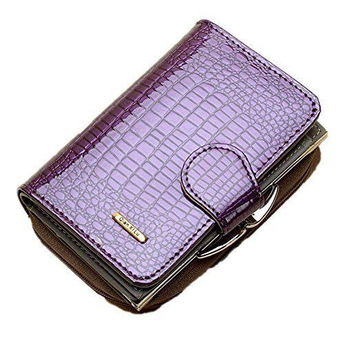 Rieovo RFID Cuir Véritable Femmes doux portefeuille de luxe Sac à main pour femme VIOLET