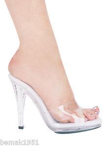 Clear-Mule-Sandals-Slip-On-Slides-5-034-Platform-4-5-034-Heels-Ellie-421-Vanity-8-M