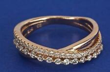A STERLING SILVER (18ct GOLD PL) CREATED DIAMOND BAND RING SIZE N (US 6.75)
