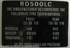 YAMAHA RD500LC RZV500 TYRE CAUTION WARNING DECAL
