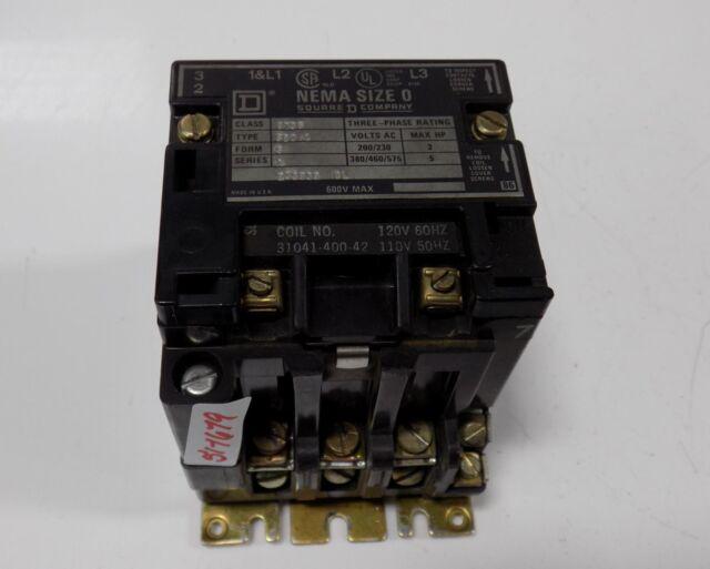 Square D NEMA Size 0 Motor Starter Combo 480 Volt Coil Class 8736 Type Sb04 for sale online