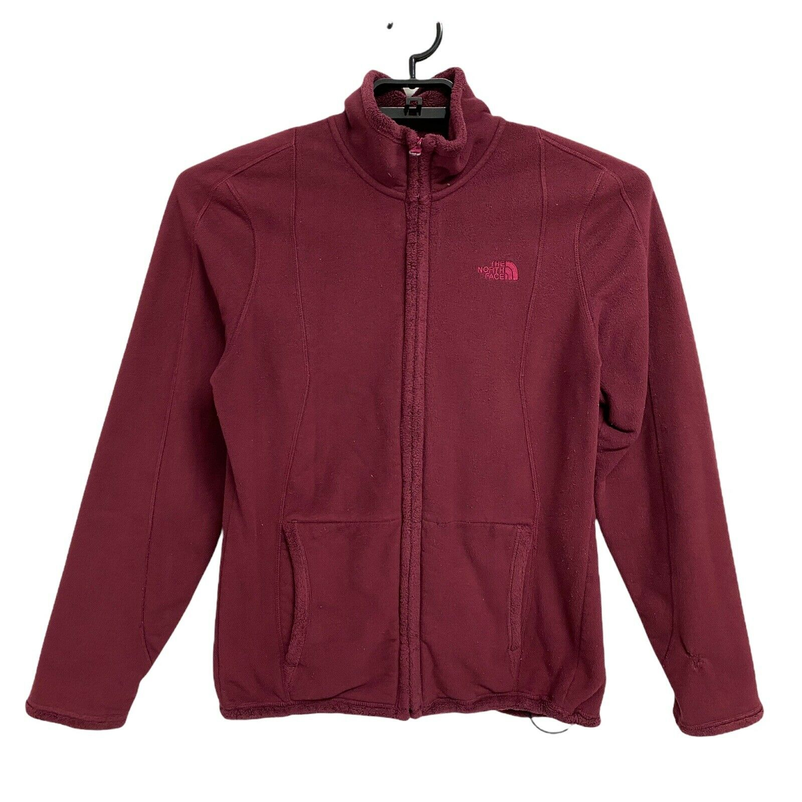 The North Face women's jacket burgundy zip front pockets size L/G