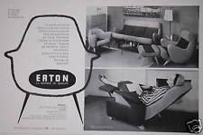 PUBLICITÉ 1958 ERTON FAUTEUILS DE RELAXATION SALONS CANAPÉ-LIT