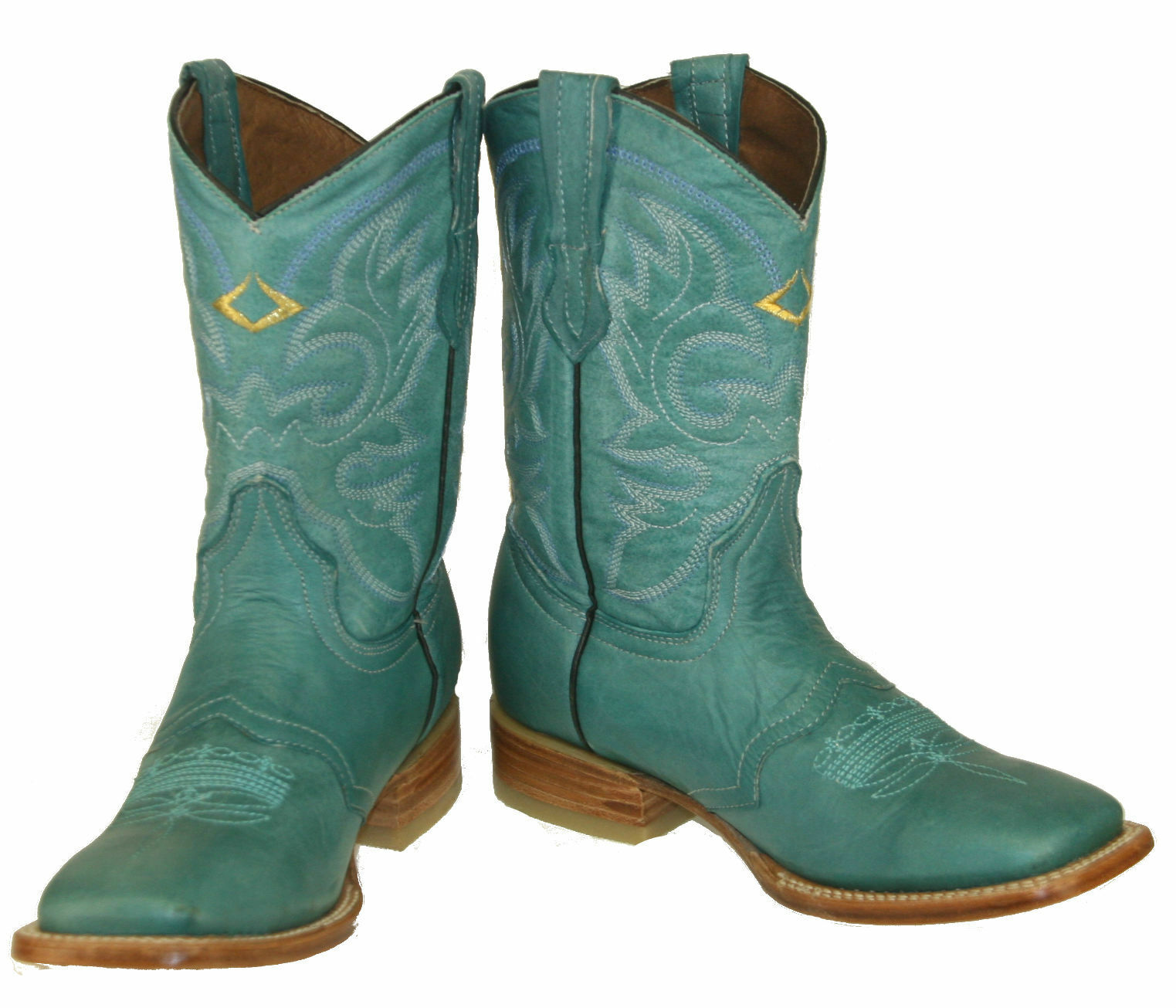 Women's New Leather Western Cowgirl Rodeo Biker Boots Square Toe Turquise