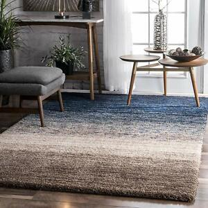 nuLOOM-Solid-amp-Striped-Shags-Hand-Tufted-Classie-Shag-Navy-Multi-Area-Rug