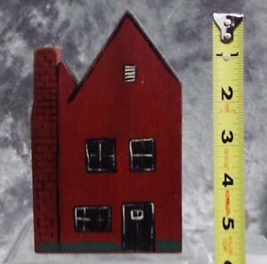 Country-Primitive-Red-Wooden-Block-House-Hand-Painted