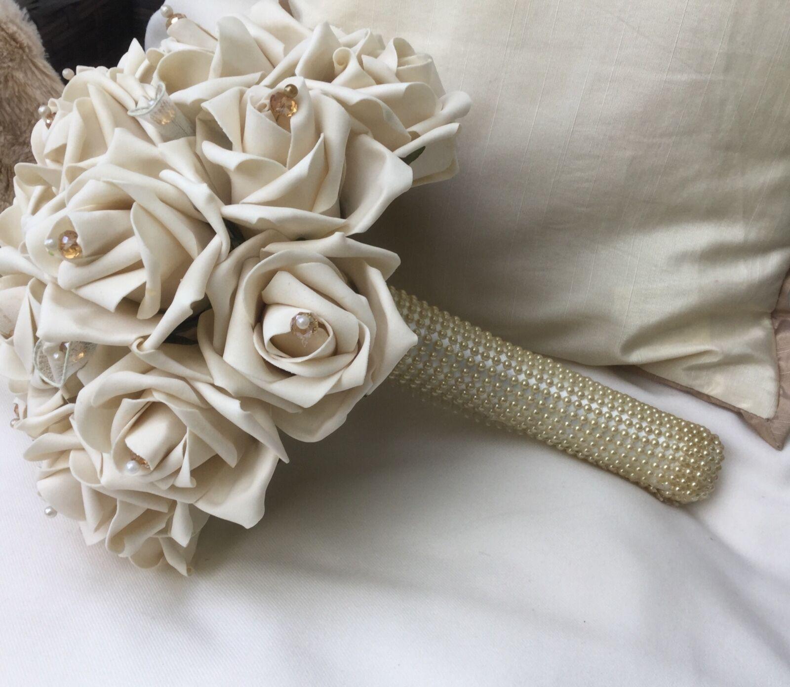 CHAMPAGNE rosa CRISTALLI PERLE nozze Fiori Posy Bouquet Sposa Sposa Sposa Damigelle 167ca6