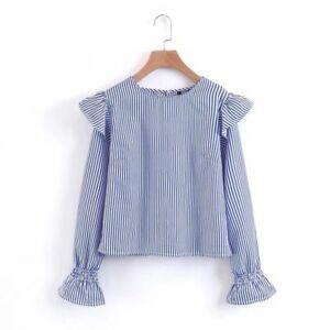 Bluse hemd damenpullover hülle lang blau himmlisch weich 4446