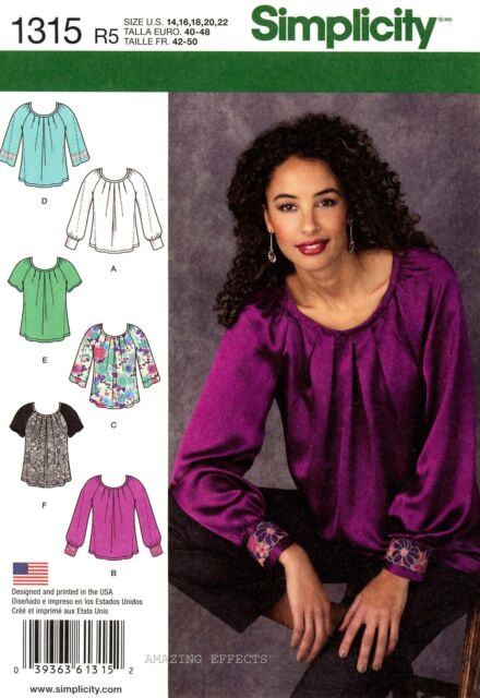 Simplicity Sewing Pattern 1315 Women's 14-22 pullover Blouses Tops