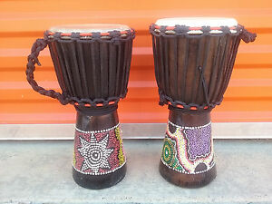 "HOLIDAY SALE! LOT OF 2 - Handmade 16"" x 8"" DJEMBE HAND DRUM BONGO - SAVE $"