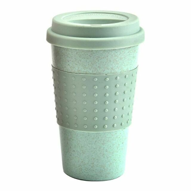 350ml Eco Friendly Resuable Wheat Straw Coffee To Go Cups Travel Mug With Lid