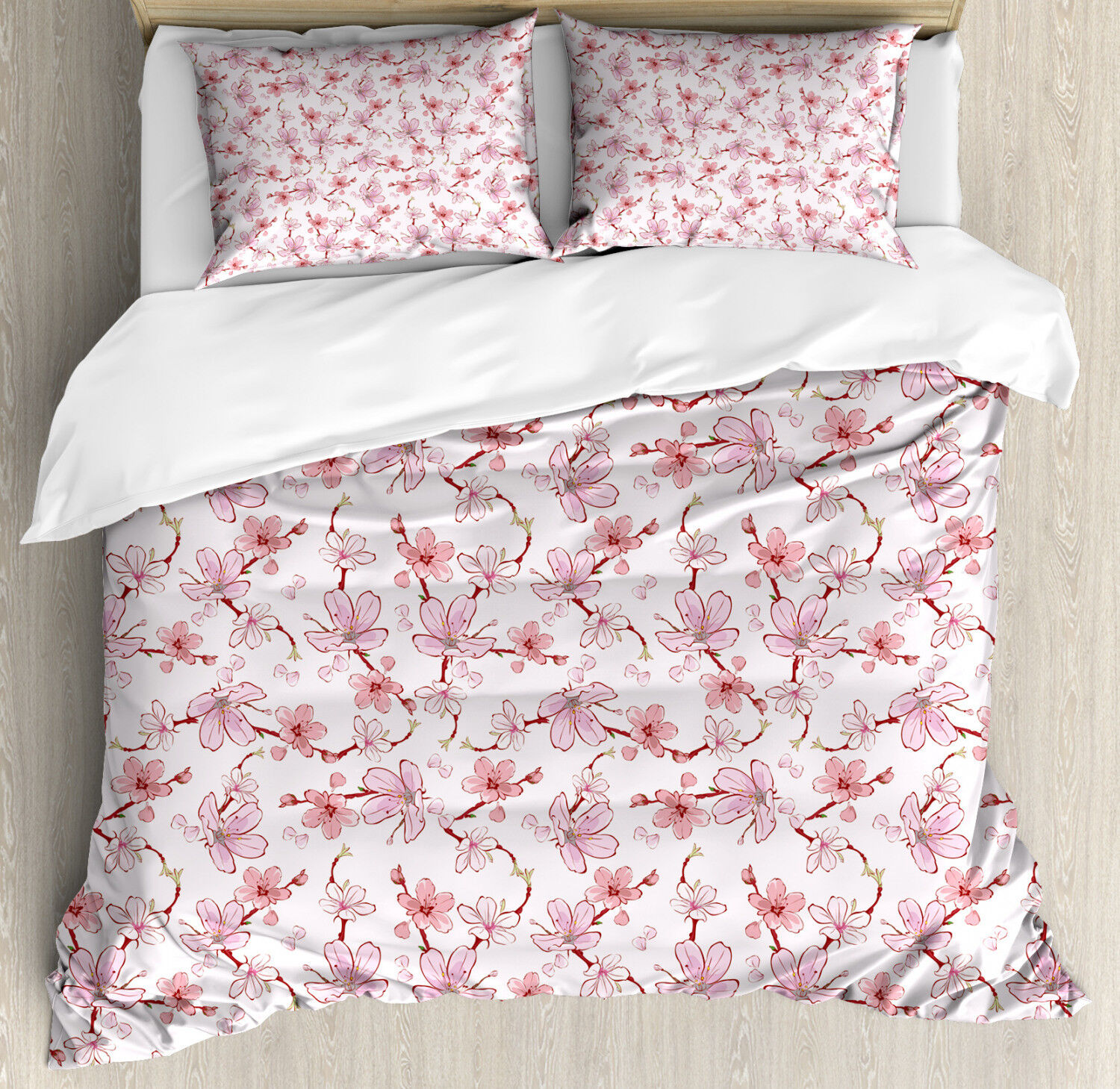 Asian Duvet Cover Set with Pillow Shams Japanese Cherry Blooms Print